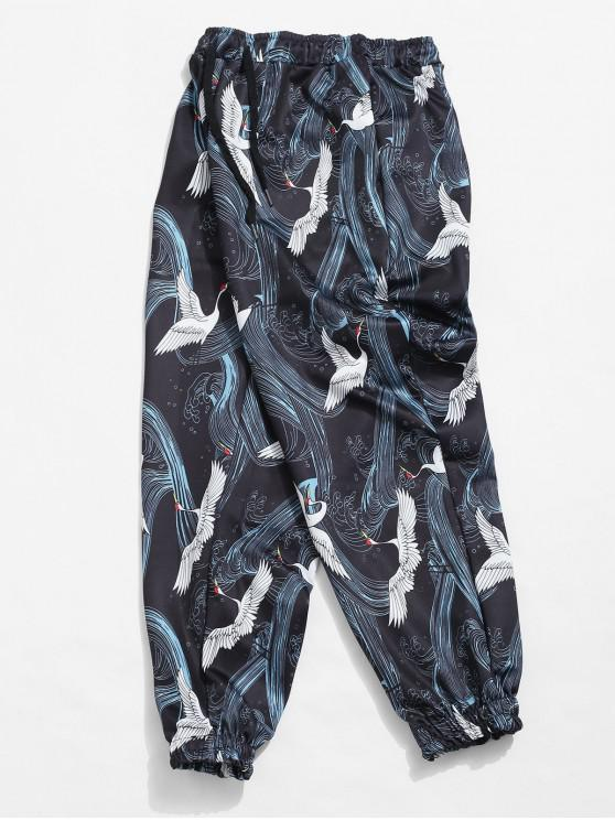 buy Crane and Wave Printed Jogger Pants - BLACK L