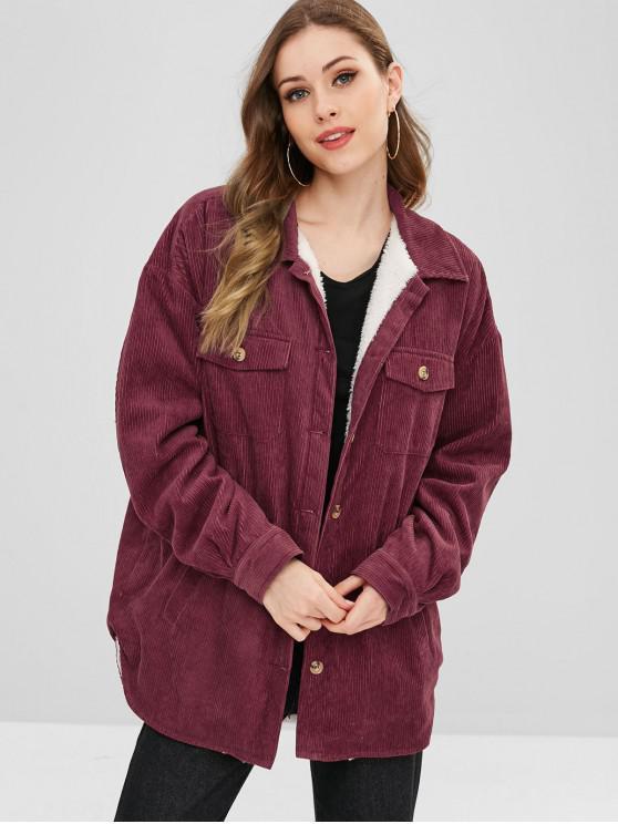 best ZAFUL Corduroy Button Up Sheepskin Coat - MAROON L