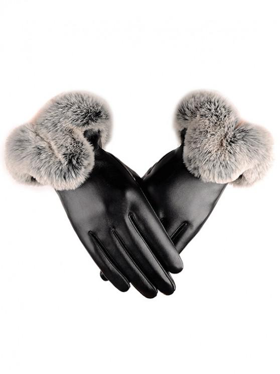women Winter PU Leather Faux Fur Gloves - BLACK L