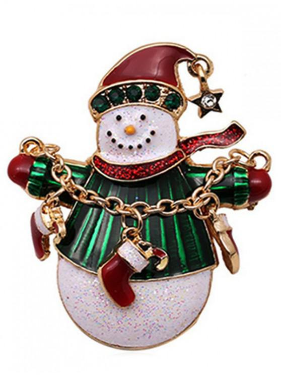 sale Christmas Snowman Socks Design Brooch - GOLD