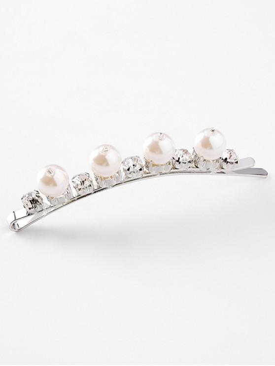 womens Artificial Pearl and Crystal Decoration Hair Clip - WHITE