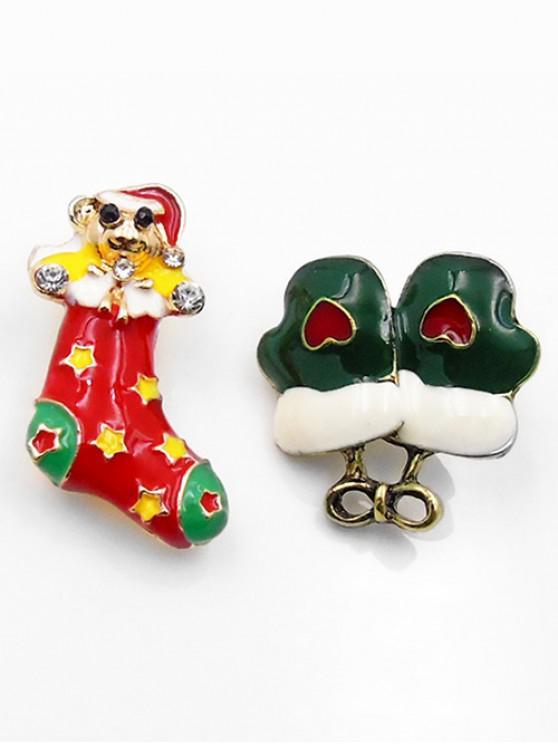 outfit 2Pcs Christmas Rhinestone Brooch Set - GOLD
