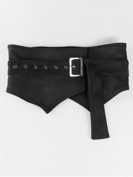 ladies Adjustable Knotted Suede Wide Belt - BLACK