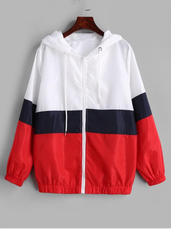 women's ZAFUL Color Block Zip Up Windbreaker Jacket - MULTI L