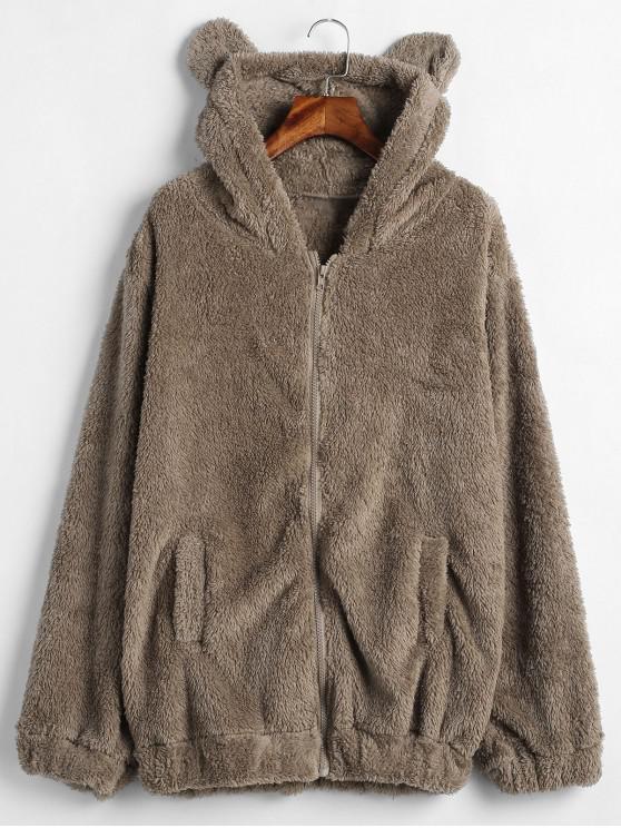 shop Zip Up Bear Fuzzy Coat - BROWN BEAR ONE SIZE