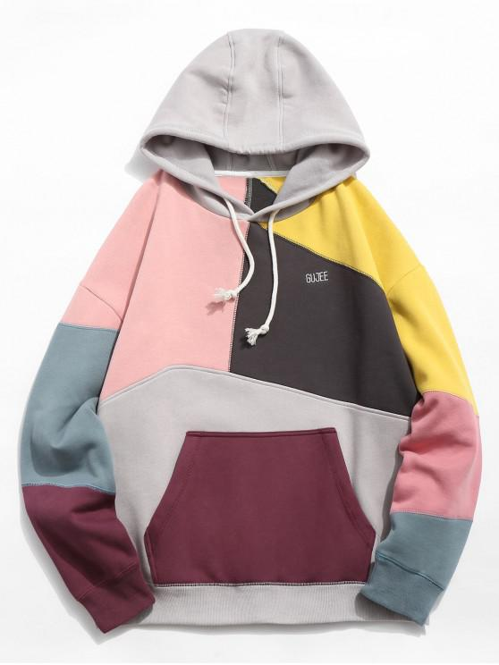 fancy Colorblock Sewing Patchwork Fleece Hoodie - LIGHT PINK 2XL