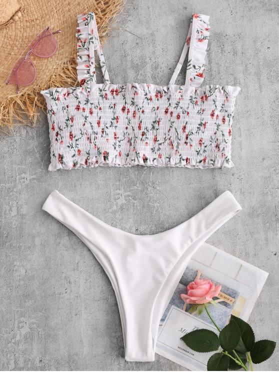 women ZAFUL Tiny Floral Shirred Ruffle Bikini Swimsuit - WHITE L