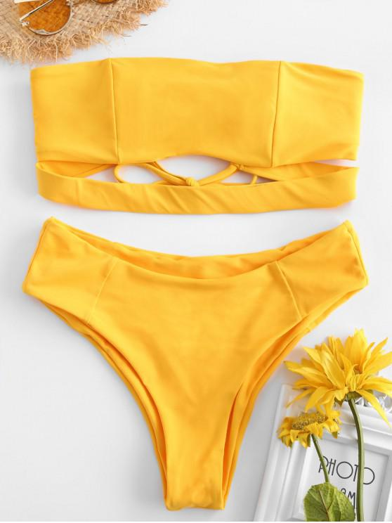 latest ZAFUL Tie Back Bandeau Bikini Set - BRIGHT YELLOW M