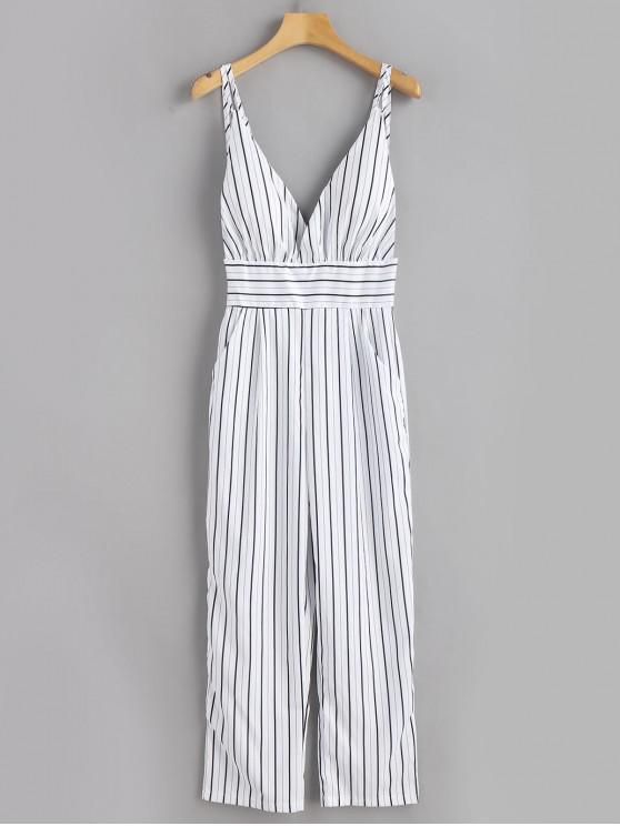 shop Backless Striped Cami Jumpsuit - WHITE M