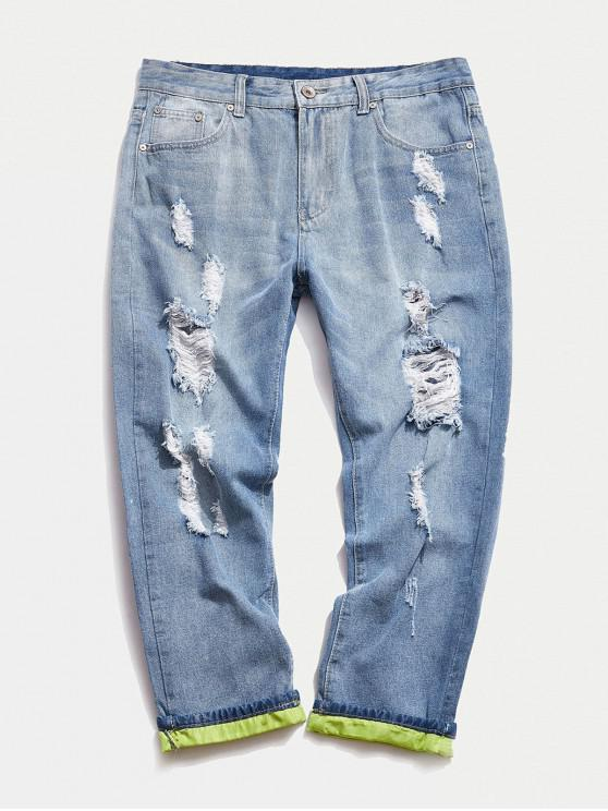 fashion Roll Contrast Cuff Ripped Jeans - DAY SKY BLUE 36