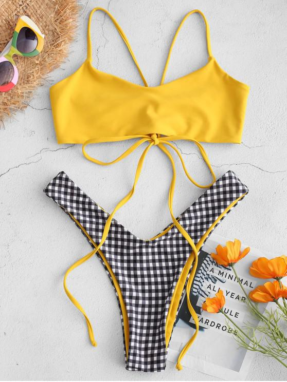 latest ZAFUL Plaid High Leg Bralette Bikini Set - YELLOW L