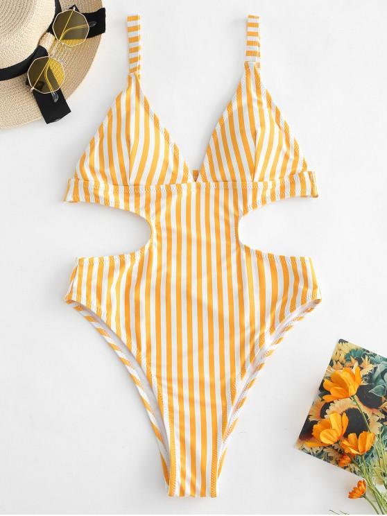 best ZAFUL Striped High Leg Monokini Swimsuit - BEE YELLOW M