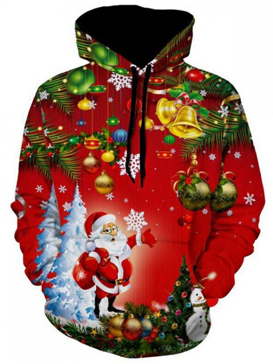 ladies Santa Christmas Tree Jingle Bells Christmas Hoodie - MULTI XL
