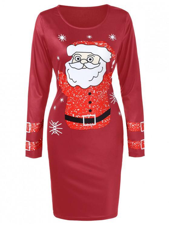 Christmas Santa Claus Printed Bodycon Dress - Vin rosu M
