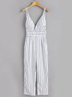 Backless Striped Cami Jumpsuit - White L