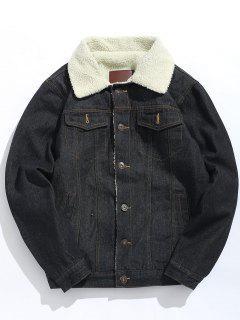Fluffy Lined Thick Denim Jacket - Black M