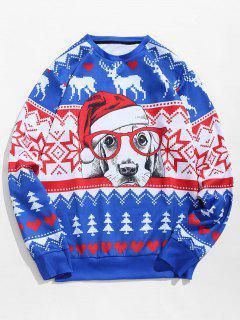 Christmas Dog Print Pullover Sweatshirt - Cobalt Blue Xs