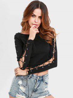 Lace Up Cropped Knitted Top - Black L