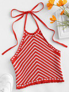 Striped Scalloped Knitted Halter Top - Red M
