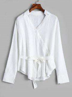 Falda Con Botones En La Parte Superior - Blanco L