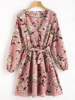 Floral Surplice Mini Dress - Multi L