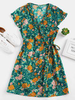 Floral Ruffle Wrap Dress - Greenish Blue M