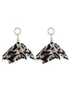Floral Design Leopard Faux Crystal Earrings - Light Brown