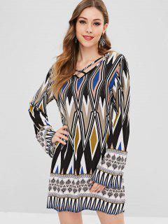 Vestido Cruzado Con Cuello En V Estampado - Multicolor L