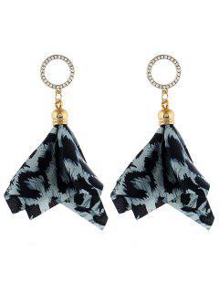 Floral Design Leopard Faux Crystal Earrings - Sky Blue
