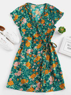 Floral Ruffle Wrap Dress - Greenish Blue S