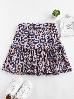 Ruffle Leopard Mini Skirt - Light Pink M