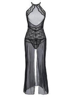 Vestido De Lencería Con Encaje Transparente De Malla Transparente - Negro