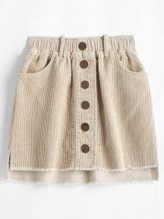 Frayed Buttoned Corduroy Skirt - Beige