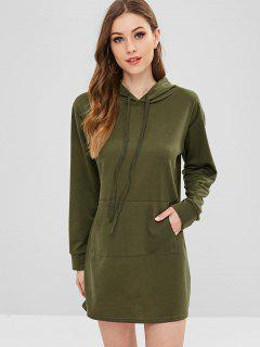 Front Pocket Hoodie Dress - Army Green S