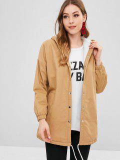 Dusty Graphic Button Up Hooded Coat - Tan M