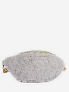Fluffy Zipper Design Crossbody Bag - Battleship Gray