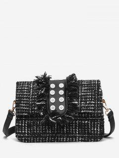 Button Printed Tassel Crossbody Bag - Black