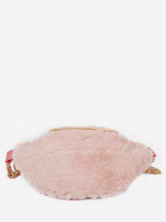 Fluffy Zipper Design Crossbody Bag - Light Pink