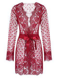 Robe Festonnée Ceinturée Florale En Dentelle Transparente - Rouge Vineux
