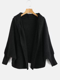 Hooded Dolman Sleeve Cardigan - Black