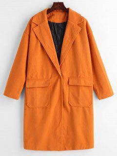 Abrigo De Lana De Imitación Con Un Botón - Naranja Oscuro L