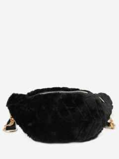 Fluffy Zipper Design Crossbody Bag - Black