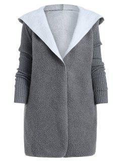 Manteau à Capuche Fourré Un Bouton Avec Poche - Gris L