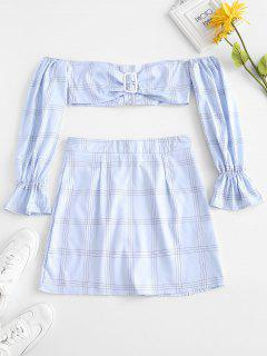 Checked Off Shoulder Crop Top With Skirt - Blue L