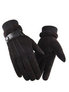 Outdoor Full Finger Suede Gloves - Black