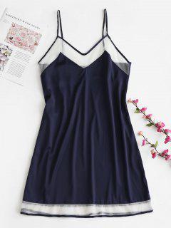 Robe De Pyjama à Bretelle Panneau En Maille En Satin  - Bleu Foncé Xl