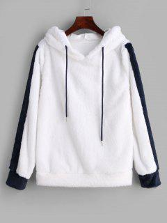 Two Tone Drawstring Faux Fur Hoodie - White M