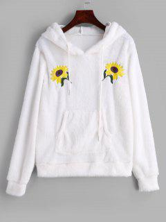 Flower Embroidered Front Pocket Fluffy Hoodie - White M