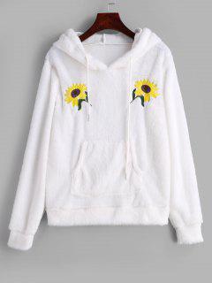 Sweat à Capuche Fourré Fleur Brodée Avec Poche En Avant - Blanc M