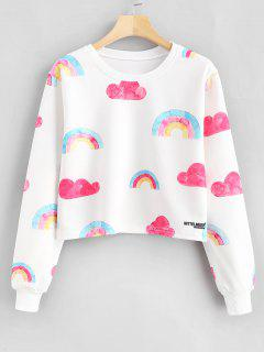 Rainbow Print Graphic Cropped Sweatshirt - White M